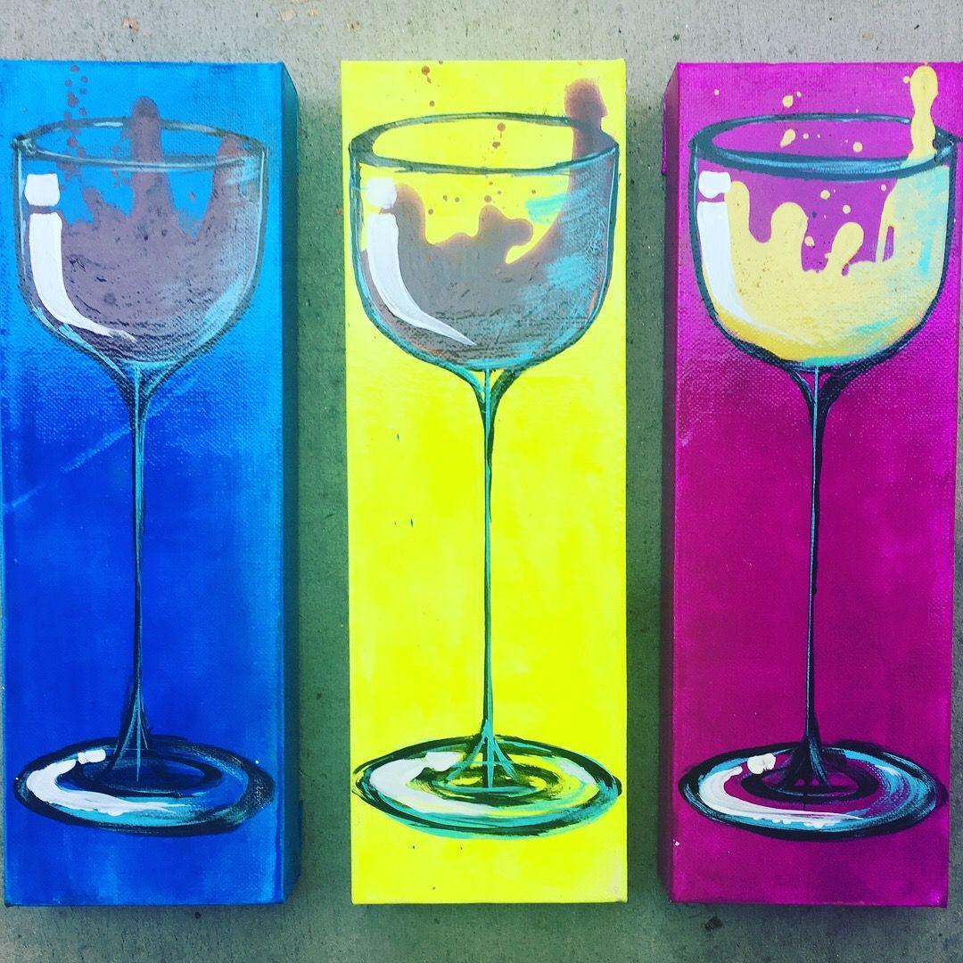 Mini wine in neon set of three 4x12x15 acrylic on canvas