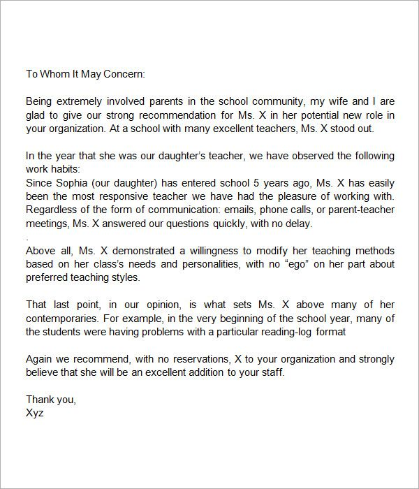 Sample Letter of Recommendation for Teacher - 18+ Documents in - example recommendation letter