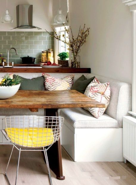 Love This All Of This With The Bench Table And The Chairs Dining Room Small Kitchen Seating Living Room Kitchen