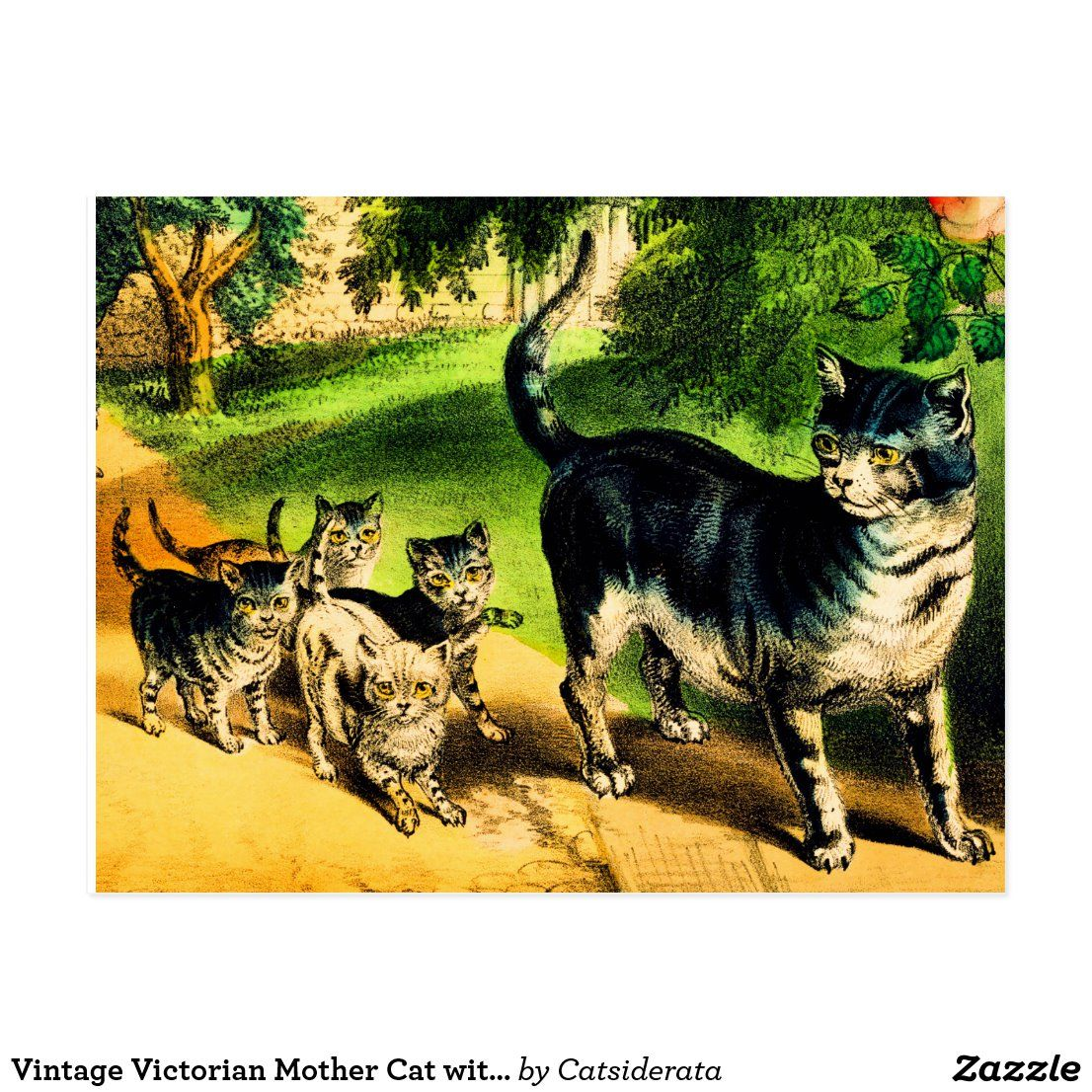 Vintage Victorian Mother Cat With Cute Kittens Postcard Zazzle Com In 2020 Kittens Cutest Mother Cat Kittens