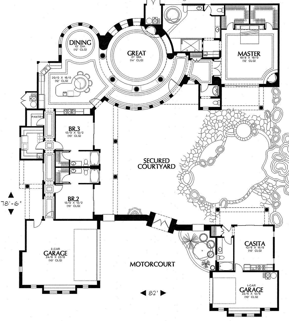 Luxury Mediterranean Style House Plan 1250 Mediterranean Style House Plans Pool House Plans Courtyard House Plans