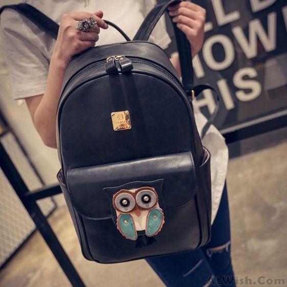 4bdf43bb8373 Black Cartoon Cute Owl Rucksack PU Schoolbag Simple Solid College Backpack