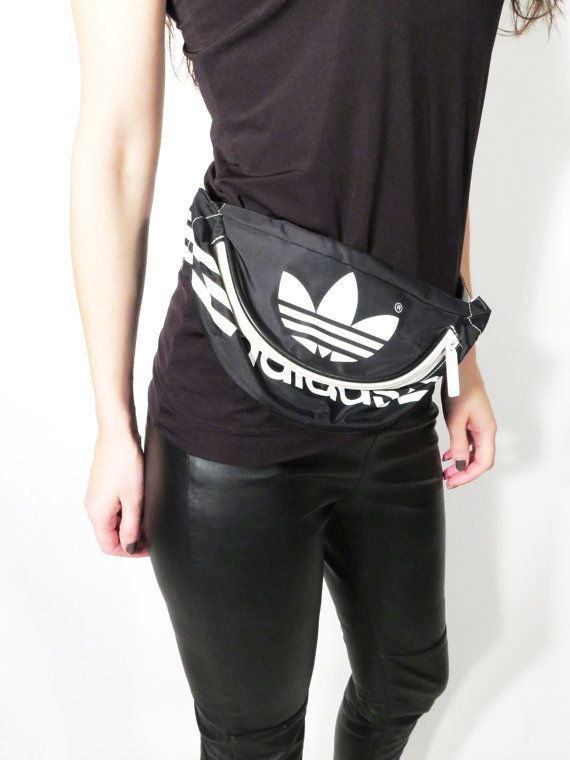 456cf001e5 Vintage Adidas Trefoil Black and White Waist Bag / Bum Bag by Ramaci ...
