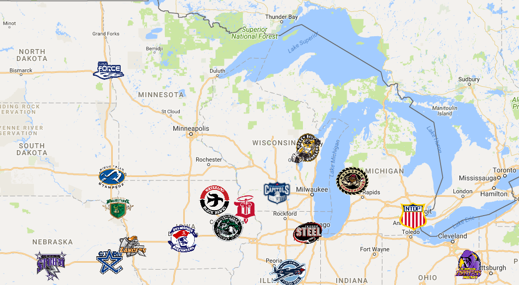 2018 Ushl Map Map Sport Hockey Teams