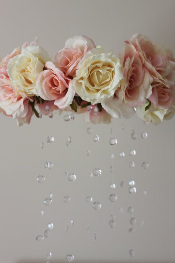 Pink And White Rose And Crystal Baby Crib Mobile By