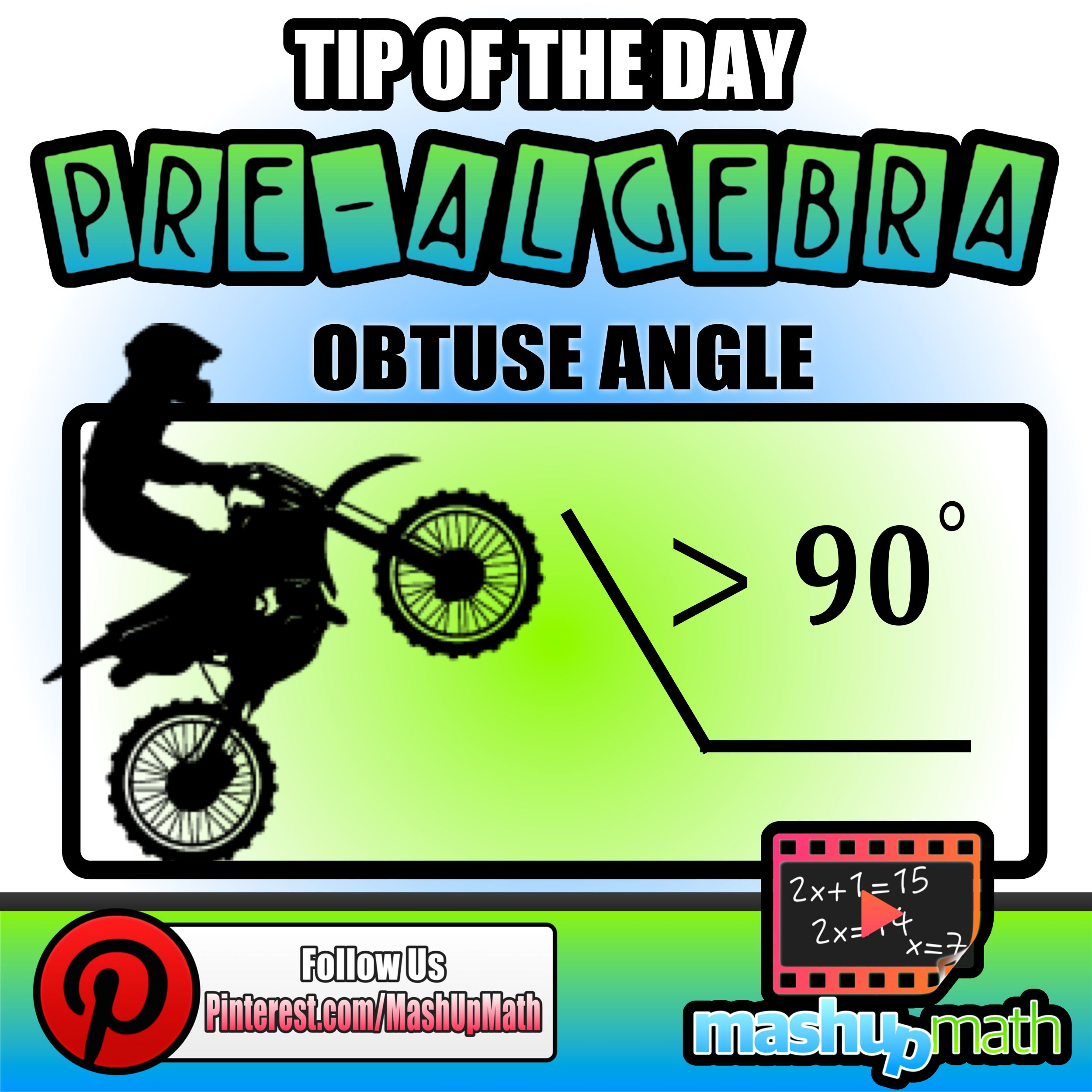 Today S Math Tip Is A Visual Reminder Of An Obtuse Angle
