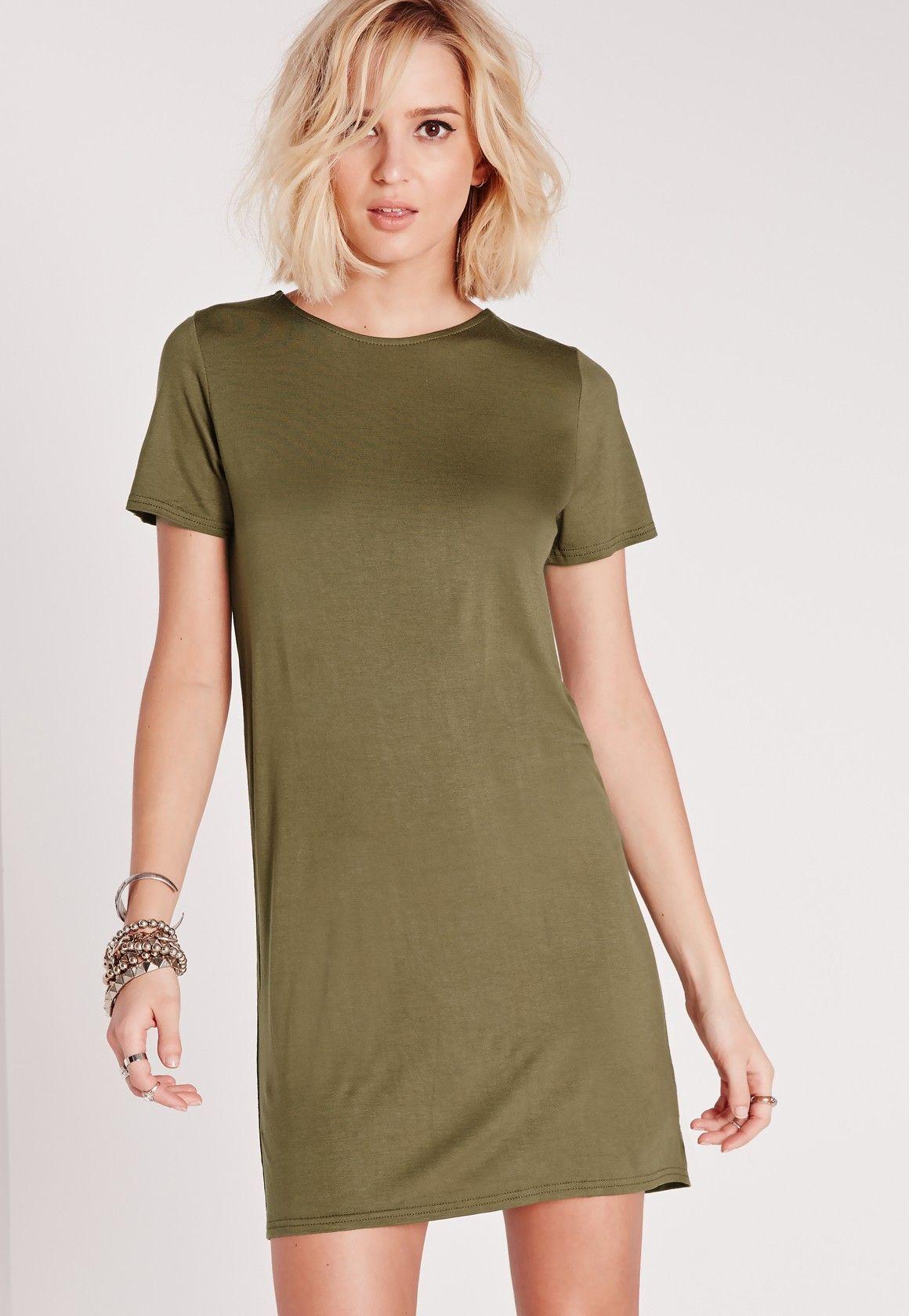 Missguided - Robe T-shirt manches courtes vert kaki
