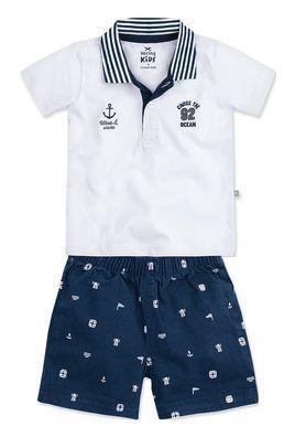 Conjunto Bebê Menino Com Camisa Polo Hering Kids  51fa543d681d9