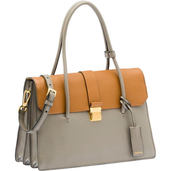 Miu Miu Top Handle ($2,115) ❤ liked on Polyvore featuring bags, handbags, shoulder strap purses, genuine leather purse, brown handbags, leather bags en zipper purse
