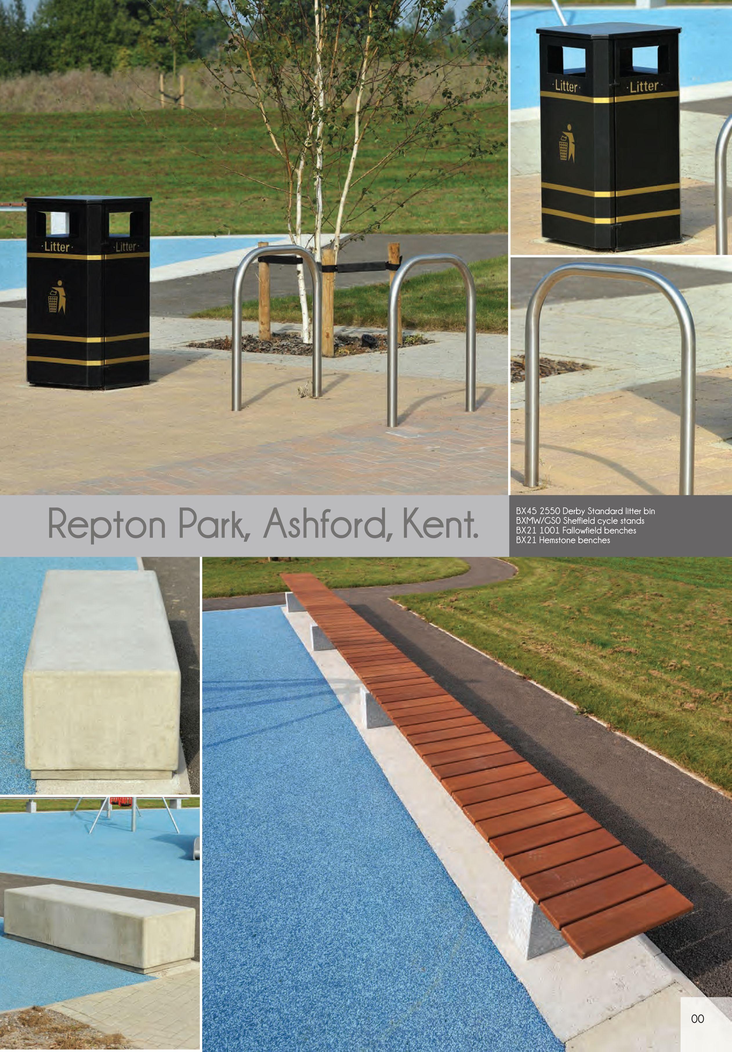 Repton Park, Ashford Kent | Street Furniture   Derby Standard Litter BIns,  Sheffield Cycle