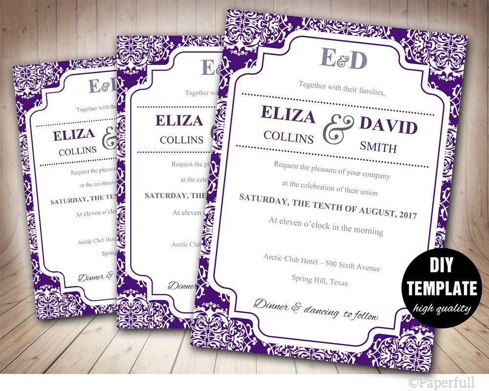 Black Lace Wedding Program Template - Instant Download Microsoft ...