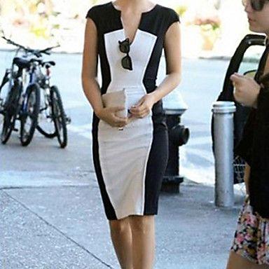 cuello en V vestido blanco y negro largo rodillas – EUR € 10.72
