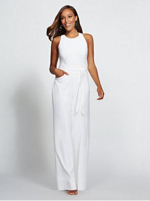 Gabrielle Union Collection White Halter Jumpsuit Gabrielle Union
