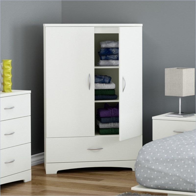 Attirant White Clothes Storage Wardrobe Cabinet Armoire With Bottom Drawer