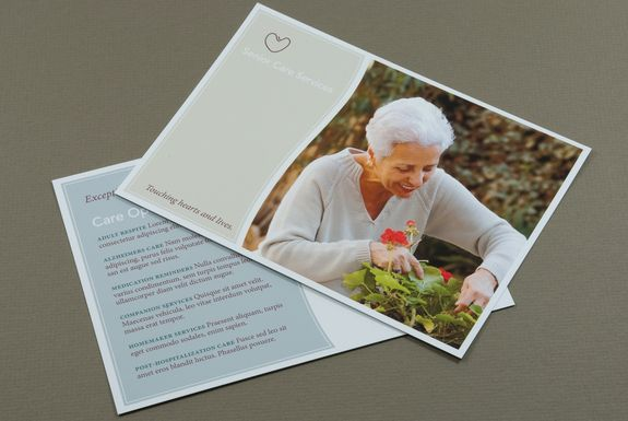 Senior Care Postcard Template--  This postcard is perfect for a senior care center or convalescent home to use for mailing purposes. The mellow colors convey a sense of security and warmth. #Inkd