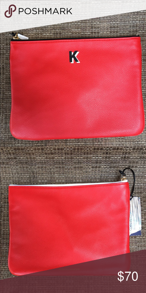 """Rebecca Minkoff Red """"K"""" Monogram Leather Pouch Rebecca Minkoff Royal Blue Leather Pouch with """"K"""" monogram.  Brand new with tags.  Use this as a clutch, make up bag, iPad mini pouch, or for school.  Perfect for anyone who has the initial """"K"""" as a first or last name.  Calling all Kendall's, Kylie's, Khloe's, Kourtney's or Kim's out there.  . Rebecca Minkoff Bags Cosmetic Bags & Cases"""