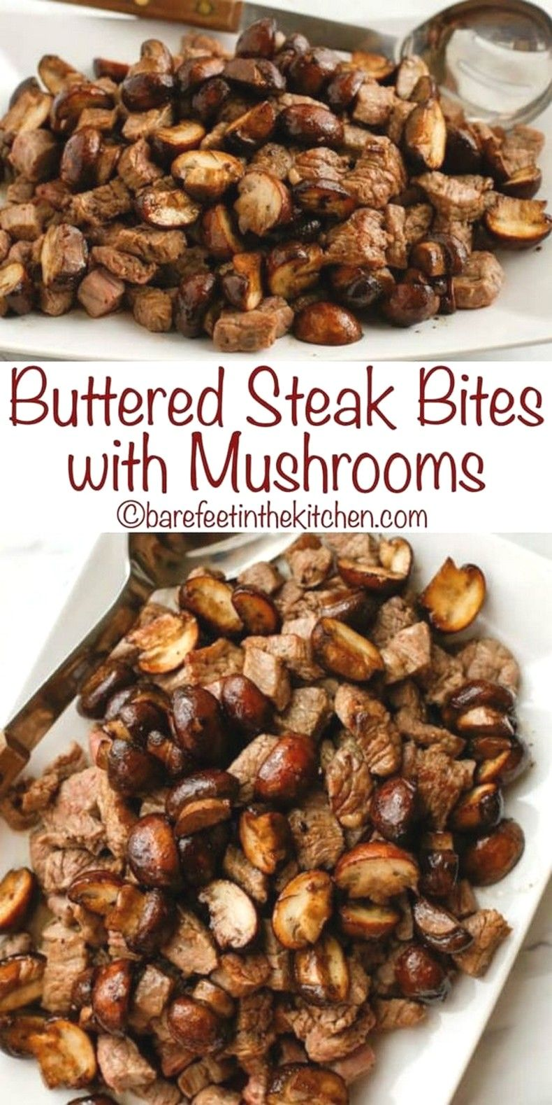 Buttered Steak Bites with Mushrooms | Beef Recipes Ideas images