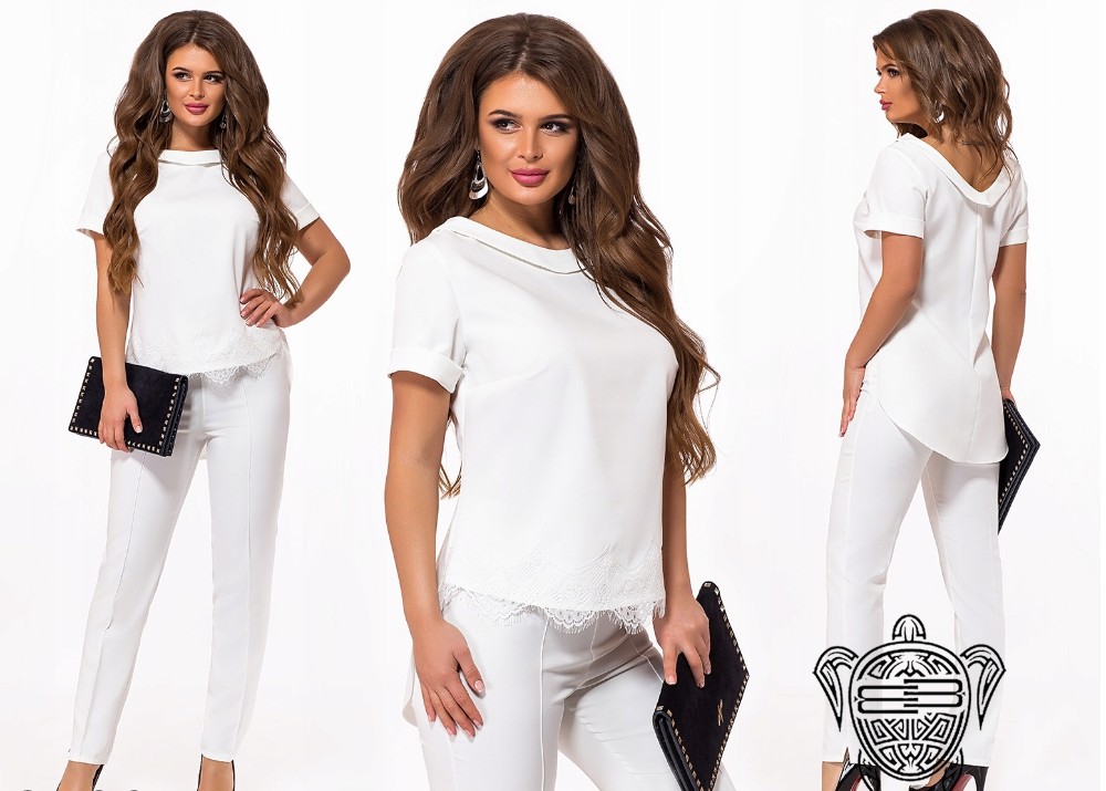Kup Teraz Na Allegro Pl Za 149 Zl Elegancki Modny Komplet Damski Spodnie Bluza 8017455864 Allegro Pl Radosc Zakupow I Bezpiecz White Jeans Fashion Pants