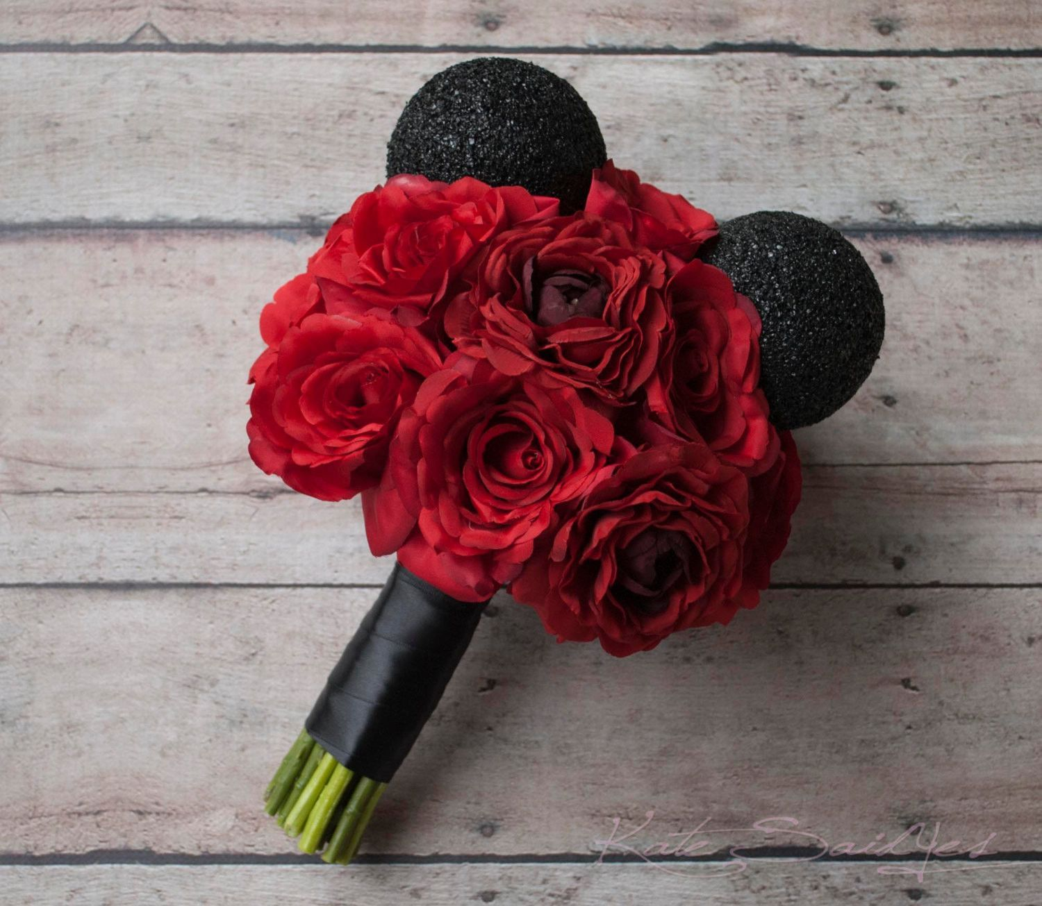 Disney Wedding Mickey Wedding Bouquet - Red Rose Wedding Bouquet ...