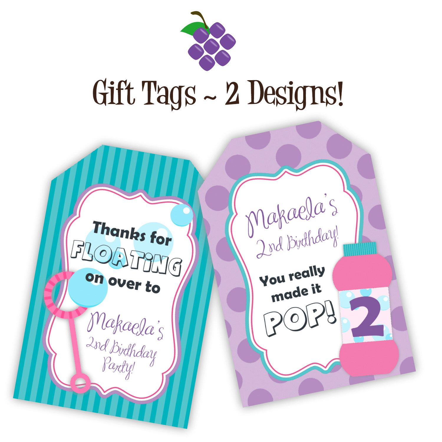 Bubble Party Gift Tags Purple Polka Dots Turquoise Stripes Pink Bubbles Personalized Birthday Party Gift Tags Bubble Party Birthday Party Gift Gift Tags