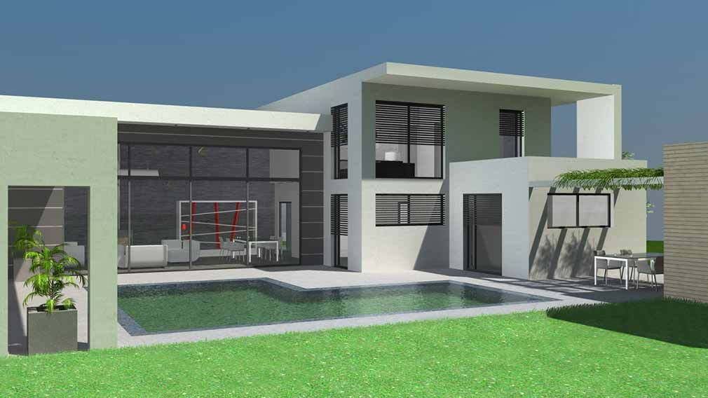Maison d architecte contemporaine toit terrasse for Local piscine toit plat