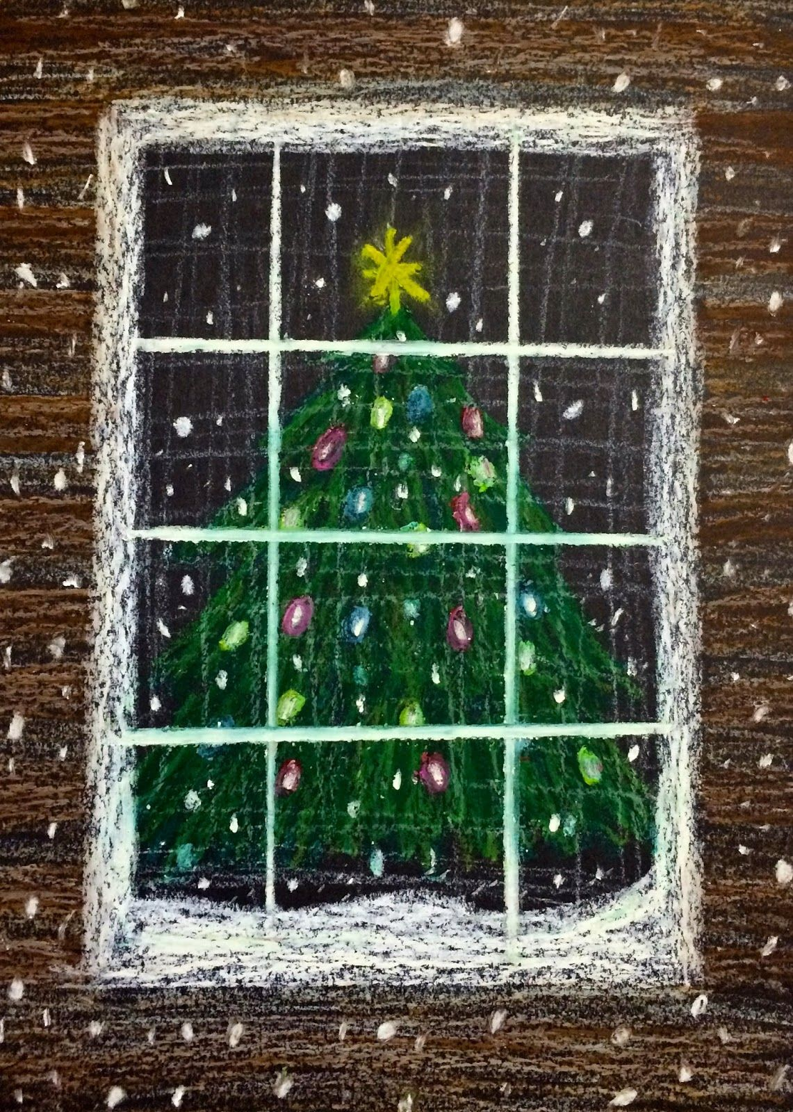 Photo of Oil Pastel Christmas Tree in a Snowstorm