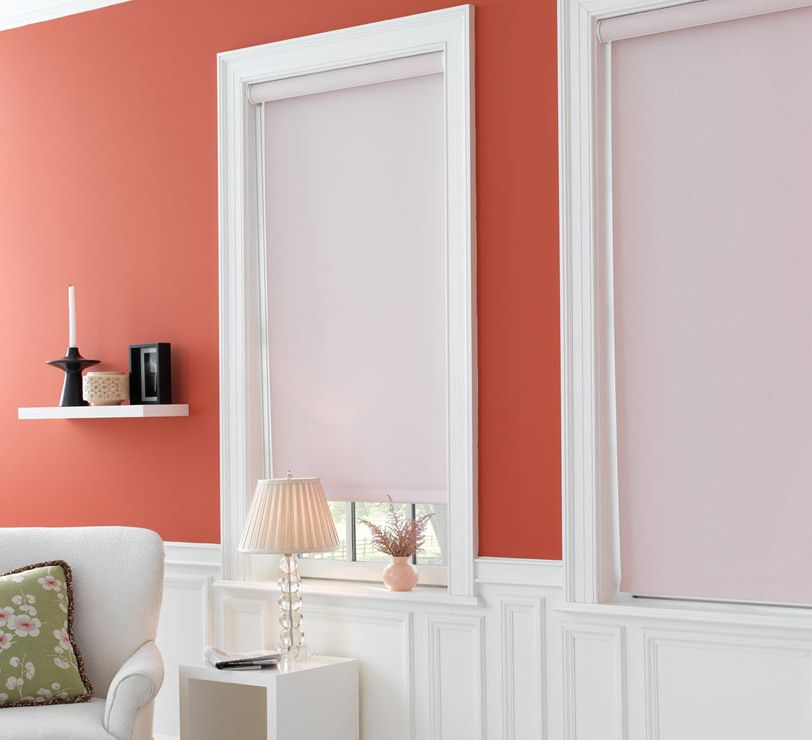 Roller shades in material thompson color blossom are a - Coral paint color for living room ...