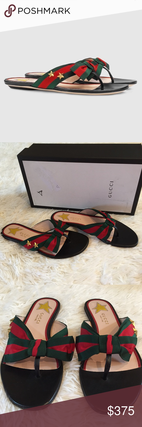 c4d5179dfef Gucci Star Studded Grosgrain Web Thong Sandals Size 36.5 (6.5) fit TTS.  Gucci