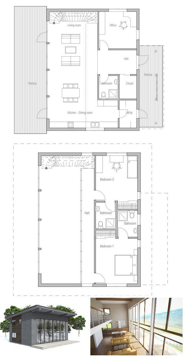 Small Home Plan Two Three Bedrooms High Ceilings Affordable Building Budget Design With Nice Big Windows