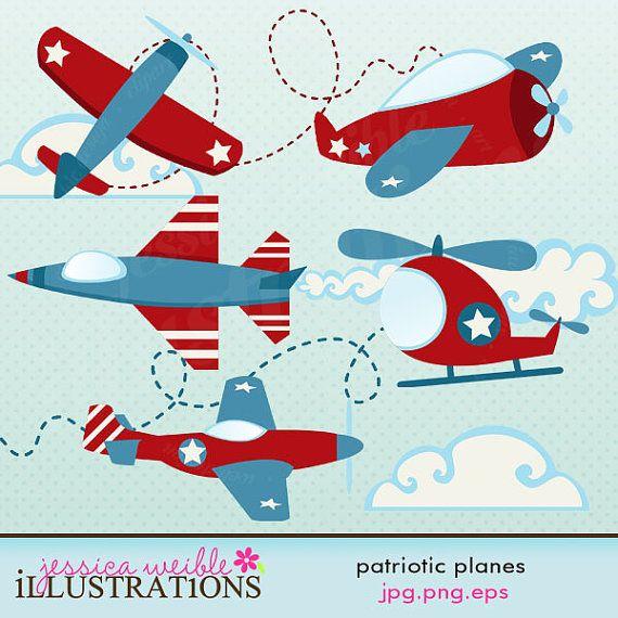 Patriotic Planes Cute Digital Clipart - Airplane Clip Art ...