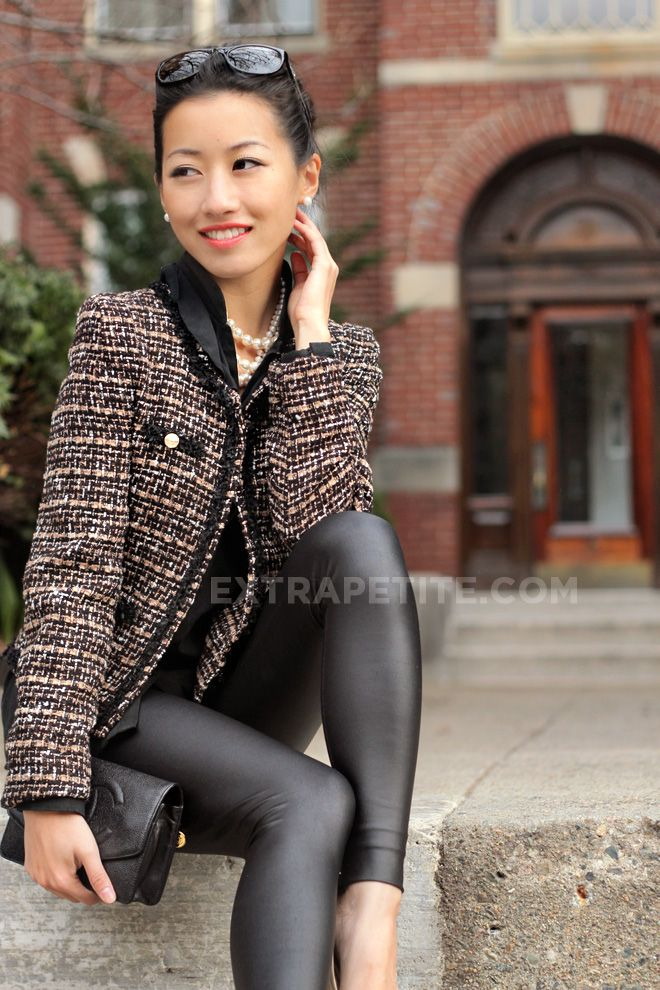 Faux leather   cropped tweed; Chanel-style jacket for petites