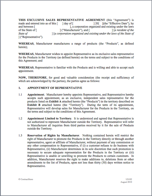 Formfileg053455531501 Exclusivity Agreement Contract
