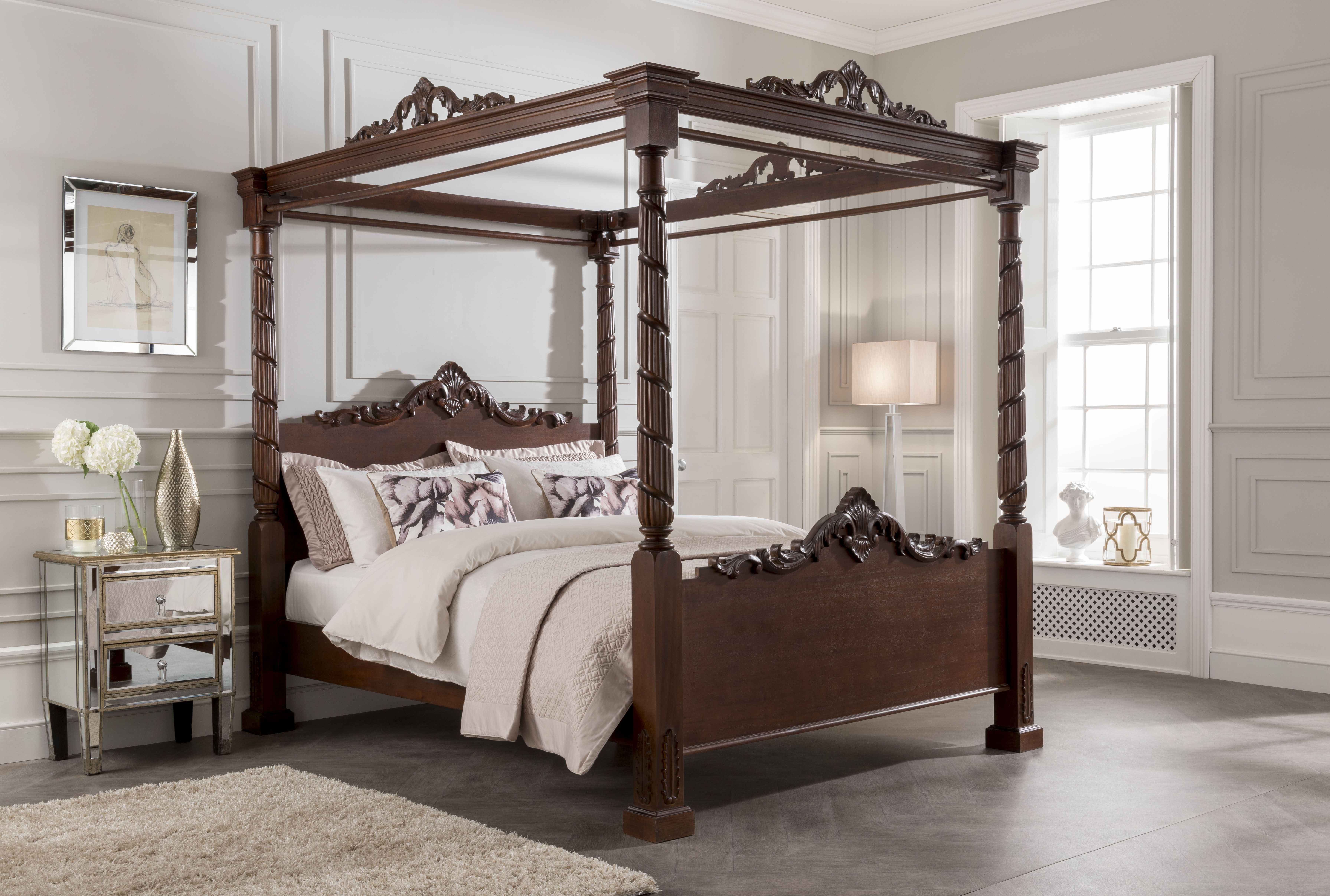 Bed and window placement  pin by homes direct  on four poster beds  pinterest