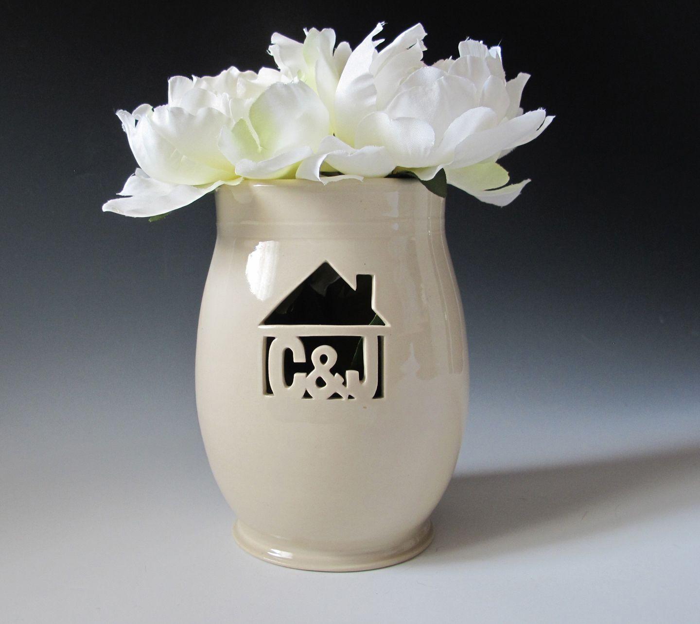 Wedding Gift Vase: Small Personalized Vase With House
