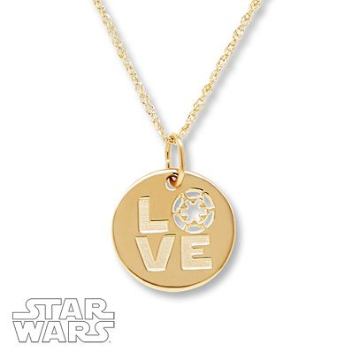 Star Wars Necklace Empire Love 10K Yellow Gold QeHcLy