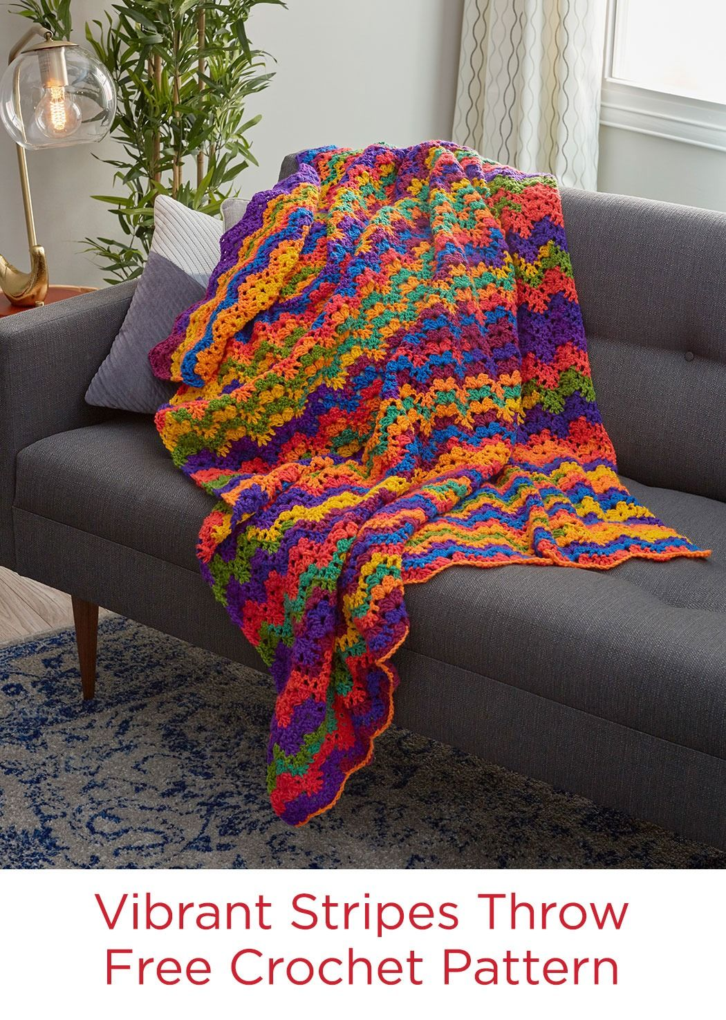 Vibrant stripes throw free crochet pattern in red heart super vibrant stripes throw free crochet pattern in red heart super saver stripes yarn you bankloansurffo Choice Image