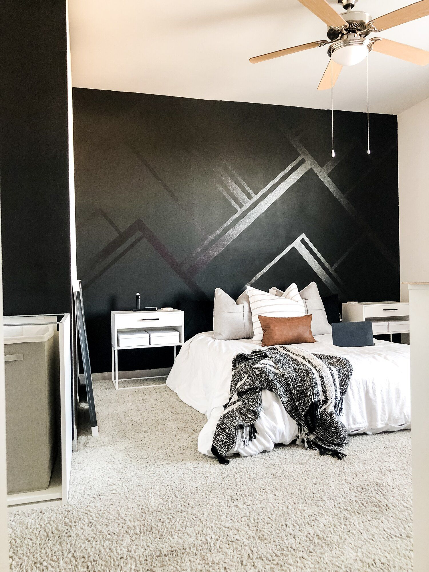 Orc Master Bedroom Makeover Week 3 Update Kayla Simone Home Bedroom Paint Design Accent Wall Bedroom Paint Black Walls Bedroom