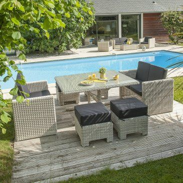 Ensemble de jardin encastrable Océane 8 places. #salon ...