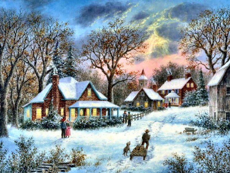 Winter in the heartland dennis patrick lewan art for Dennis mill cabin