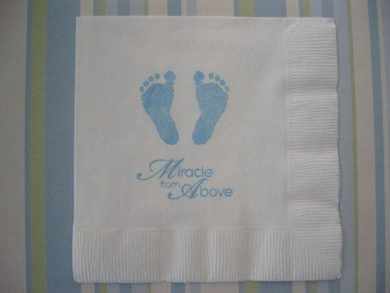50 Baby Feet Paper Napkins Baby Boy Decorations Baptism Party Baby