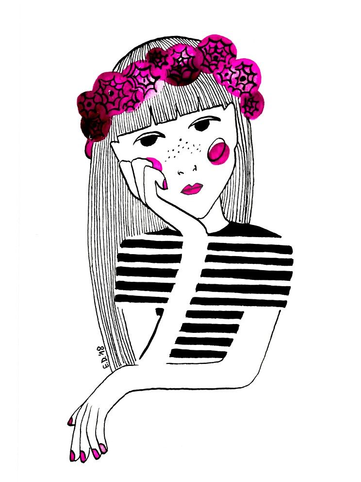 Instagram: my_moody_my #ink #inkillustration #inkpainting #illustration #drawing #sketch #doodle #illustrationart #woman  #blackink #redink #pattern #portrait #face #watercolor #watercolorandink #flowers #flowercrown #peony
