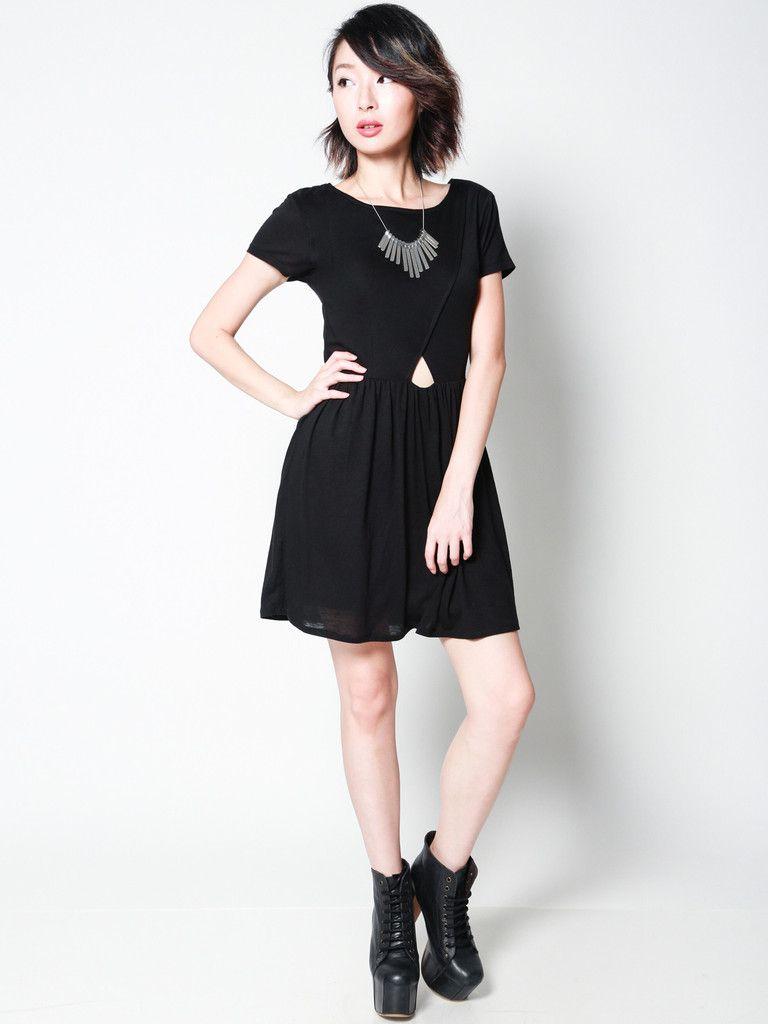 KAYLA Layered Cutout Dress (Black)