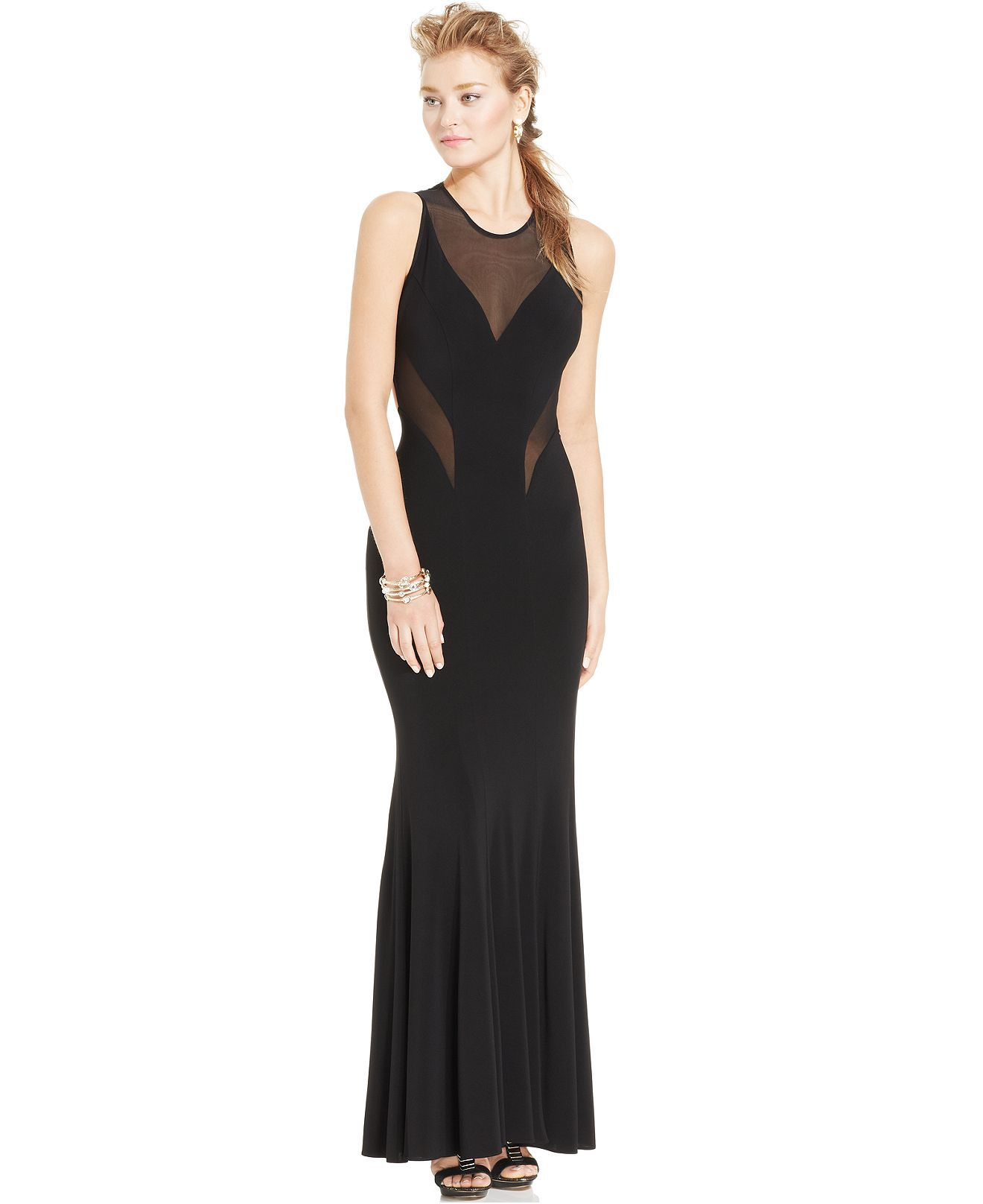 Betsy & Adam Illusion-Panel Cutout Gown - Dresses - Women - Macy's; BUT the panels (or the sheer fabric) should be lighter or colors other than black