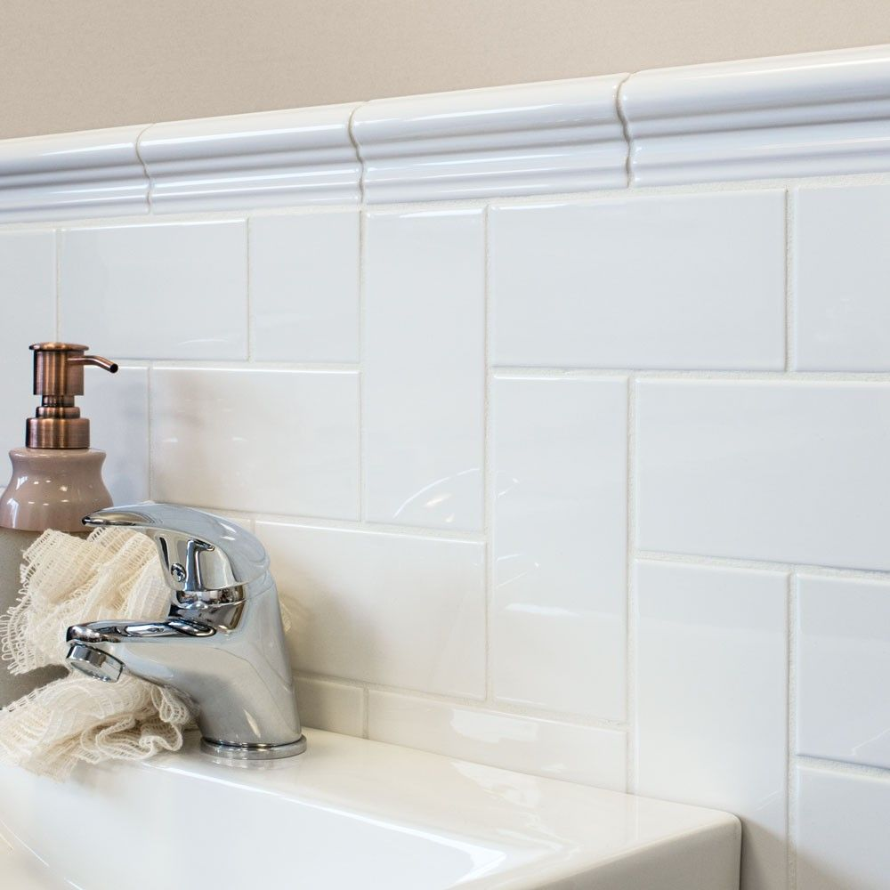 Chelsea White 150x50 Border Tiles | Downstairs Bathroom | Pinterest ...