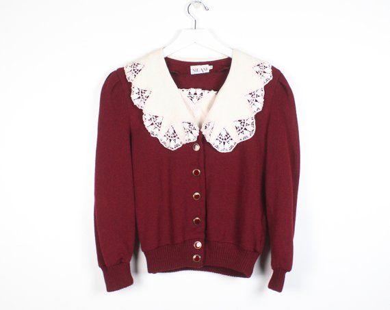 etsy  vintage  depop  secretary  sweater  jumper  cardigan  lace ... 31cdf17da