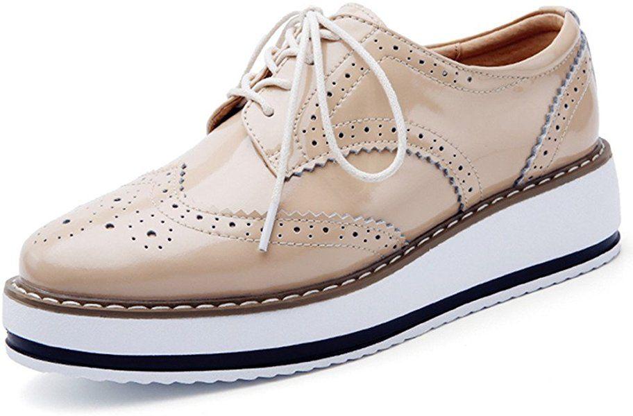 a2f023c5 Amazon.com | DADAWEN Women's Platform Lace-Up Wingtips Square Toe Oxfords  Shoe White US Size 9/Asia Size 41/25.5cm | Oxfords