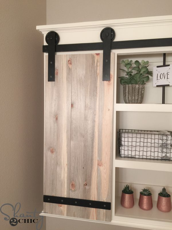 Diy Sliding Barn Door Bathroom Cabinet Doors Cabinets And Open Shelving