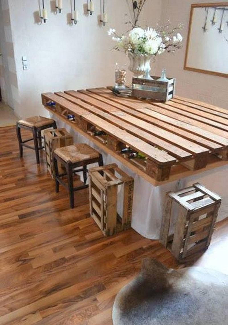 pallet dining table with wooden crates as bar stools. Love this idea for a  kitchen island