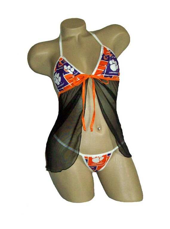 NCAA Clemson Tigers Lingerie Negligee Babydoll Sexy Teddy .