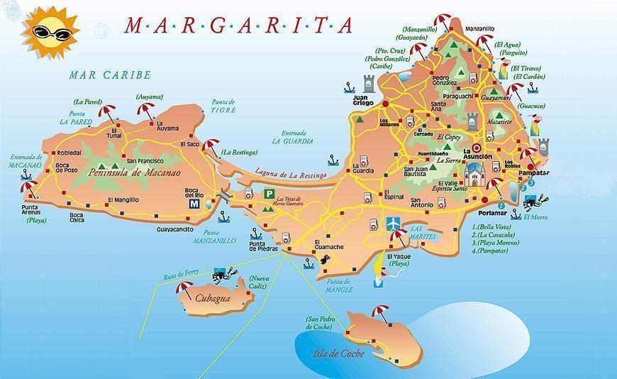 Map Of Margarita Island Margarita Island, Venezvela South America | PLACES I HAVE BEEN